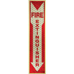 "L.C. Industries Fire Extinguisher Sign, Glow in Dark, 1""x4""x16-3/4"", RD/WE"