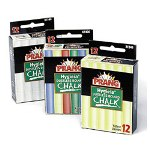 Prang Hygieia Dustless Board Chalk, 3 1/4 x 3/8. White, 12/Box