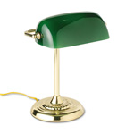 "Ledu Traditional Banker's Lamp, 14"" High, Green Glass Shade, Brass Base"
