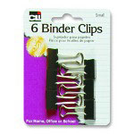 "Charles Leonard Binder Clips, Small, 3/4"", 6/PK, Black/Steel"