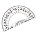 "Charles Leonard Open Center Protractor, Plastic, 4"" Ruler Edge, Clear"