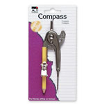 Charles Leonard Ball Bearing Compass, w/ Pencil/Centimeter Guide, Aluminum