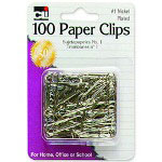 Charles Leonard Paper Clips, No. 1, Rust-resistant, Nickel Plated