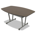 Linea Italia Trento Line Conference Table, 59w x 39-1/2d x 29-1/2h, Mocha/Metallic Gray