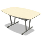Linea Italia Trento Line Conference Table, 59w x 39-1/2d x 29-1/2h, Oatmeal/Metallic Gray