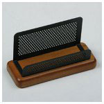 Rolodex Business Card Holder, Rich Cherry Wood/Black Metal