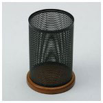 Rolodex Pencil Holder, Rich Cherry Wood/Black Metal