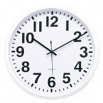 "Lorell Wall Clock, 13 1/2""Diameter, White Face/White Frame"