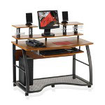 "Lorell Mobile Workstation, 48-3/4""x27-1/4""x41-1/2"", Cherry/Charcoal"