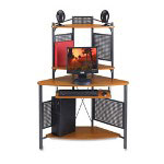 "Lorell Cherry/Charcoal Computer Workstation, 41 3/4"" x 21 3/4"" x 60 3/4"