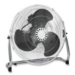 "Lorell Heavy-Duty Floor Fan, 18"", 3 Speed, 23-3/4""x8-1/2""x22"", Chrome"