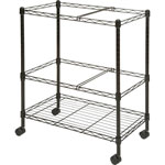 "Lorell Mobile Filing Cart, 2-Tier, Letter/Legal, 26"" x 12-1/2"" x 30"", Black"