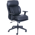 "Lorell Task Chair, Leather, 27-1/2"" x 26-3/4"" x 42-1/2"", Black"