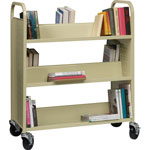 "Lorell Double-Sided Booktruck, 39"" x 19"" x 46"", Putty"