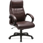 "Lorell Leather Hi-Back Chair, 27"" x 32"" x 44-1/2"", Brown"