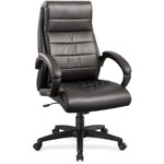 "Lorell Leather Hi-Back Chair, 27-3/4"" x 32"" x 44-1/2"", Black"