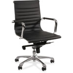 "Lorell Modern Mid Back Chair, 25"" x 26"" x 38"", Black"