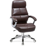 "Lorell Leather Hi-Back Chair, 30"" x 15"" x 26"", Brown"