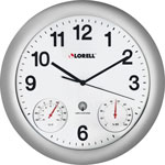 "Lorell Analog Temperature/Humidity Wall Clock, 12"", Silver"