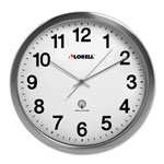 "Lorell Atomic Wall Clock, 11-3/4"", Chrome"