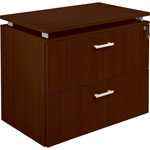 "Lorell Concordia 2-Drawer Lateral File, Lock, 36"" x 22"" x 30"", Mahogany"