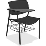 "Lorell Student Chairs with Tablet, 21-1/2"" x 25"" x 33"", 2/CT, Black"