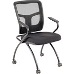 Lorell Mesh Back Fabric Seat Nesting Chairs, Black
