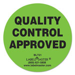 "LabelMaster Warehouse Self-Adhesive Label, 2"" dia., QUALITY CONTROL APPROVED, 500/Roll"