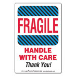 LabelMaster Shipping/Handling Self-Adhesive Label, 4 x 6, FRAGILE/HANDLE WITH CARE, 500/Roll