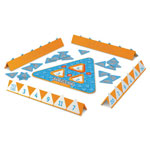 Learning Resources Addition/Subtraction Game, Triangle Board, 100 Cards, 4 Trays, Orange/White/Blue