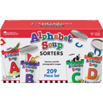 Learning Resources Alphabet Soup Sorters, 26 Cardboard cans w/Lids, 130 Photo Cards, 52 Letters