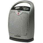 Lasco Gray Oscillating Ceramic Heater, Adjustable Thermostat, Three Settings