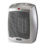 Lasco Gray Ceramic Heater, Adjustable Thermostat, Three Settings