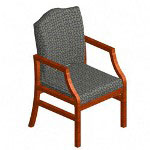 Lesro Hartford Series Guest Chair, Cherry Finish/Green Fabric