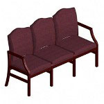 Lesro Weston Series Sofa, Mahogany Finish, Cranberry Upholstery