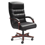La-Z-Boy Chair Company Horizon Collection Executive High Back Chair, Black Leather/Natural Cherry