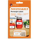 "Maco Tag & Label Dissolvable Labels, 2"" x 4"", 36/BX, White"