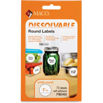 "Maco Tag & Label Dissolvable Labels, 2"" x 2"", 72/BX, White"