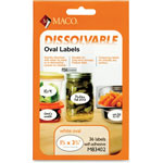 "Maco Tag & Label Dissolvable Labels, 4"" x 2', 36/BX, White"