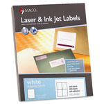 "Maco Tag & Label Return Address Labels, 5 1/2"" x 4 1/4"", 400/BX, White"