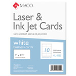 "Maco Tag & Label Business Cards, Laser/Inkjet, 3 1/2""x2"", White, 250 Sheets"