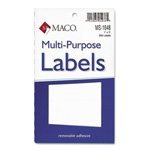 "Maco Tag & Label Self Adhesive Removable Labels, 250 Labels, 1""x3"", White"