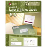 Maco Tag & Label Recycled Laser and InkJet Labels, 1 1/3 x 4, White, 1400/Box