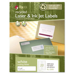 Maco Tag & Label Recycled Laser and InkJet Labels, 1 x 4, White, 2000/Box