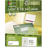 Maco Tag & Label Recycled Laser and InkJet Labels, 1 x 2 5/8, White, 3000/Box