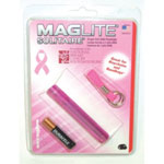 Mag Instrument Mini Flashlight, Breast Cancer Foundation, Pink, 1 Cell AAA Battery, Solitaire