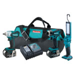 Makita 3 Piece 18V LXT Cordless Impact Driver, Impact Wrench and Flashlight Combo Kit