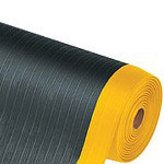 Box Partners Economy PVC Foam Anti-Fatigue Mat, 4' x 16', Black & Yellow