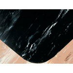 Box Partners Rubber Floor Mat, 3' x 8', Black Marble