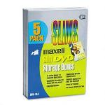 Maxell DVD Slim Storage Box Cases with Outer Transparent Sleeve, Silver